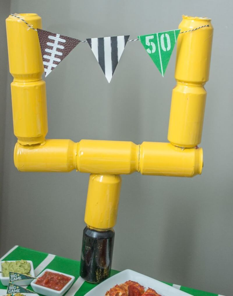 Love The Idea Of Using Empty Soda Cans To Make A Field Goal Post Perfect For Super Bowl Party Decorations