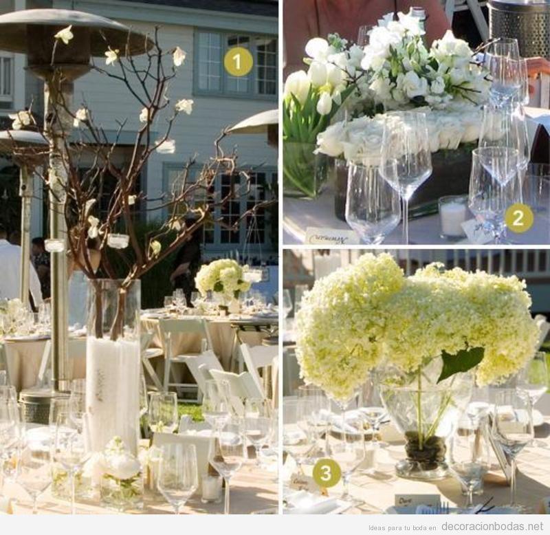 centros de mesa flores y ramas estilo moderno para decorar boda aire libre