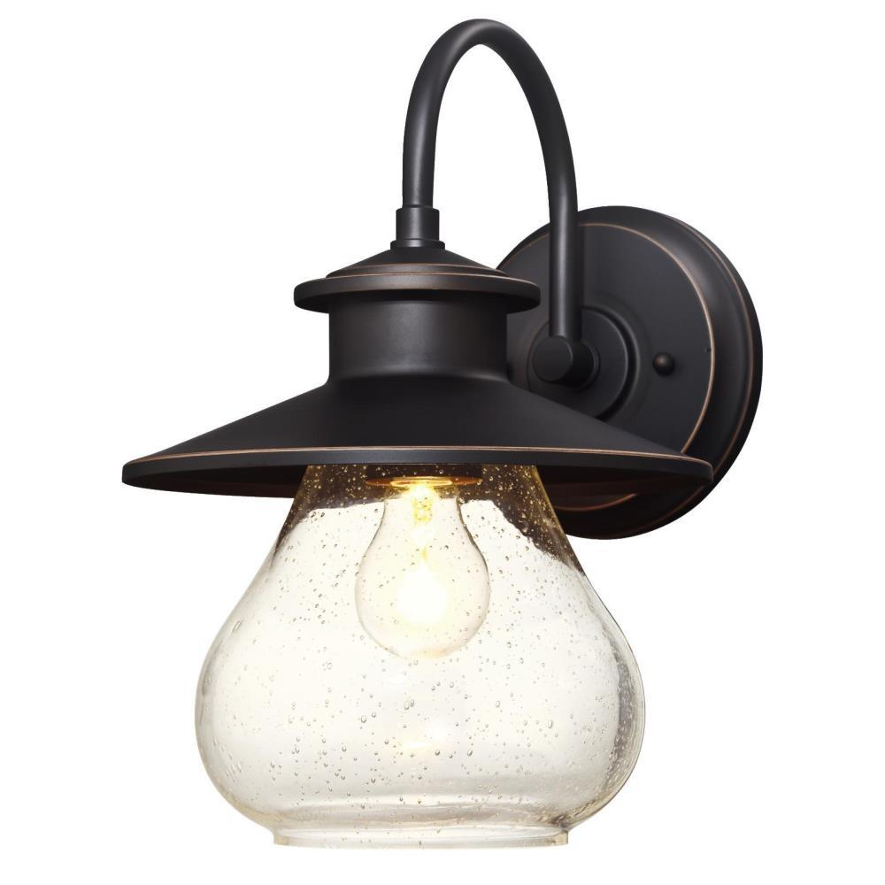 Delmont oil rubbed bronze light with highlights outdoor wall mount