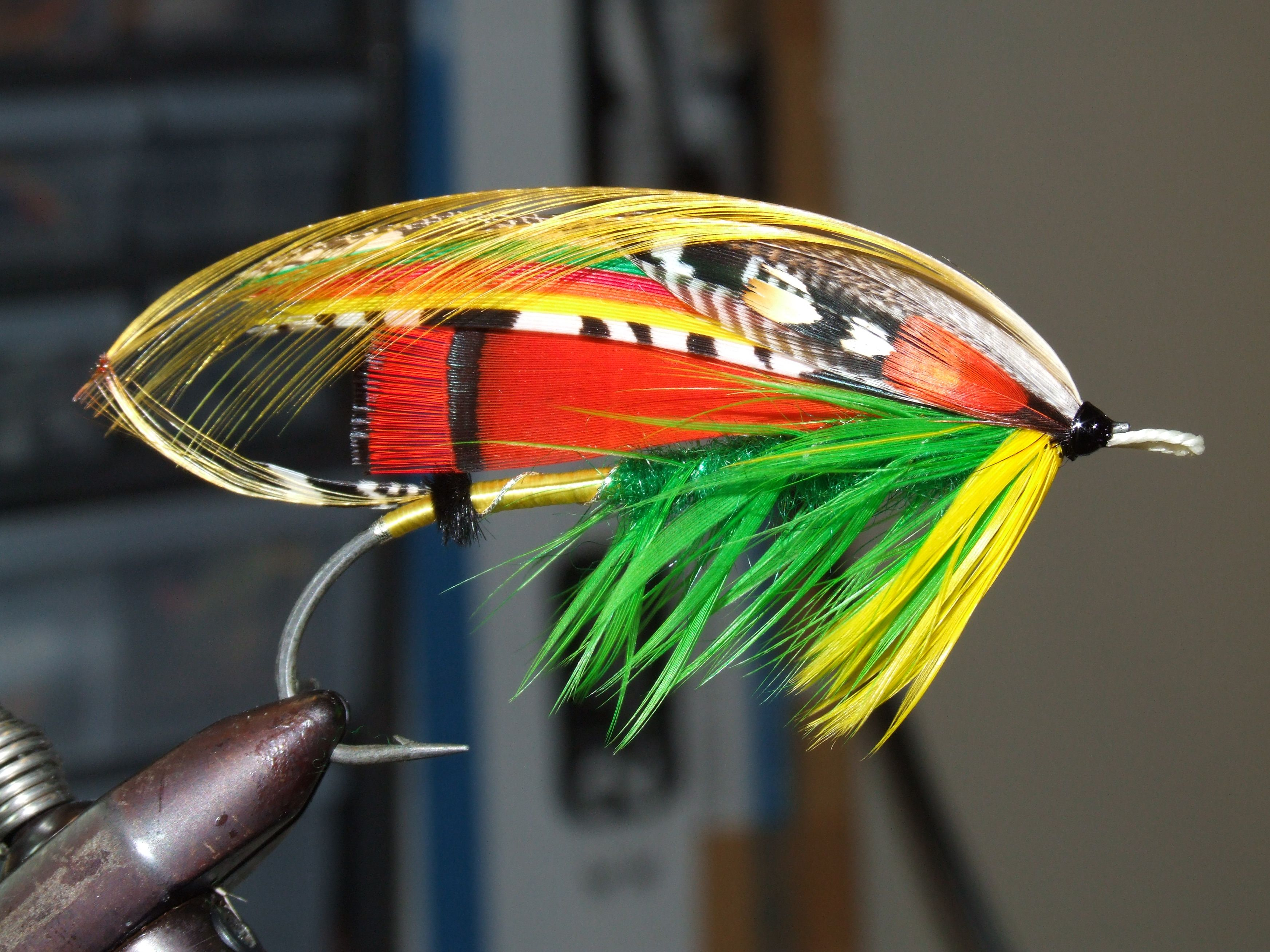 Classic Salmon Fly Brooch, The Green Highlander, built on ... Classic Atlantic Salmon Fly Patterns