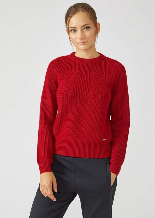 f63b797dd Emporio Armani Sweater In Full Cardigan Rib Virgin Wool With A ...