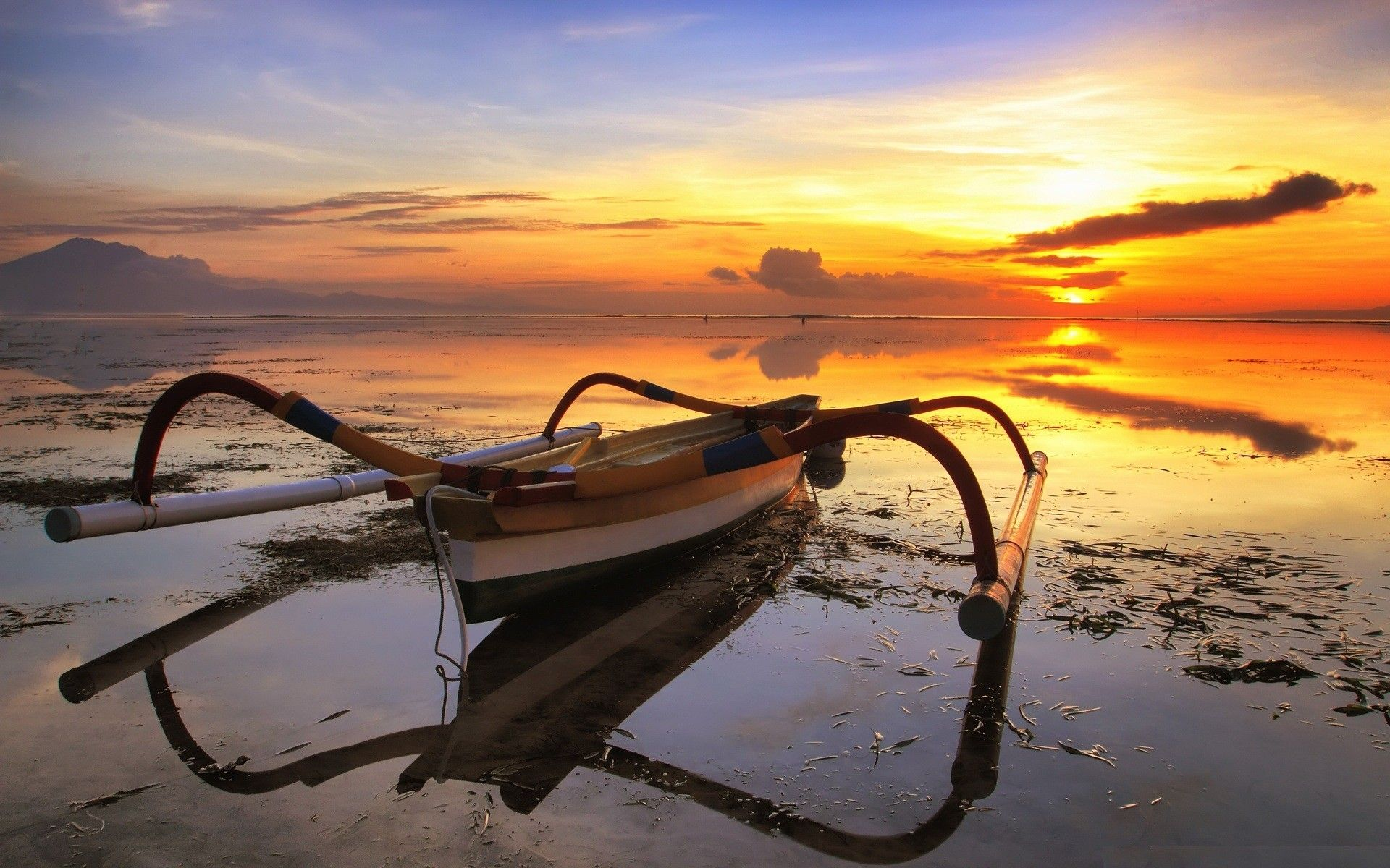 Low Tide Fishing Boat Sunset Nature Boat Wallpaper Fishing Boats