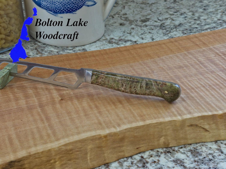 Cheese knife handmade knife handle maple burl charcuterie