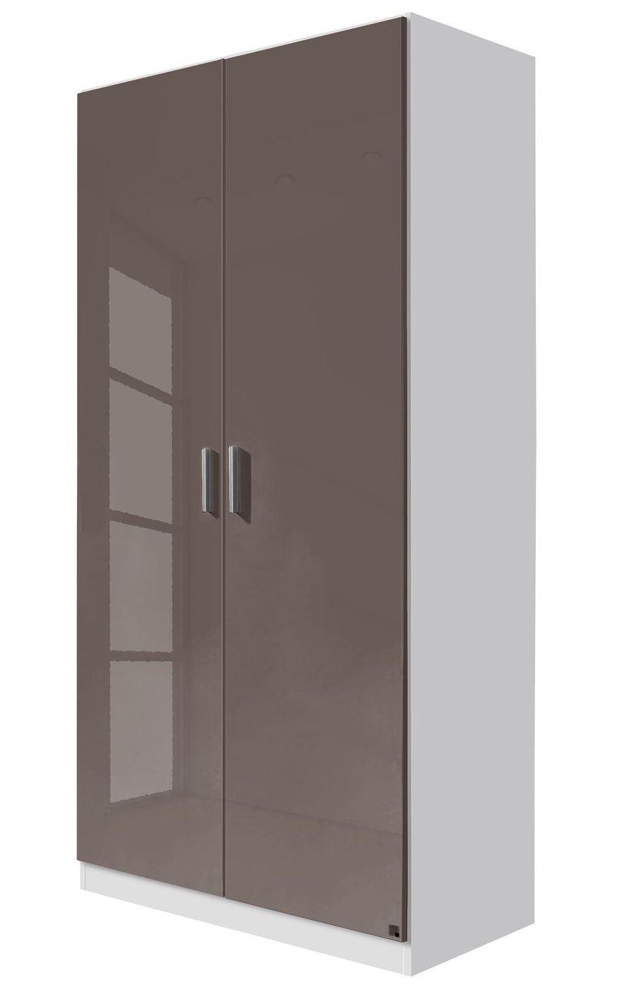 Armoire 2 Portes Battantes Taupe Brillant Et Blanc Mat Bello 90 Armoire 2 Portes Armoire Porte Battante