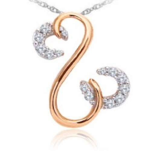 10k White Gold & Rose Gold 0.10 CTW Diamond Pendant...  This stunning rose gold pendant features two open hearts with diamonds set in white gold.  American Ring Source – Style: 128808  SKU: PD03147