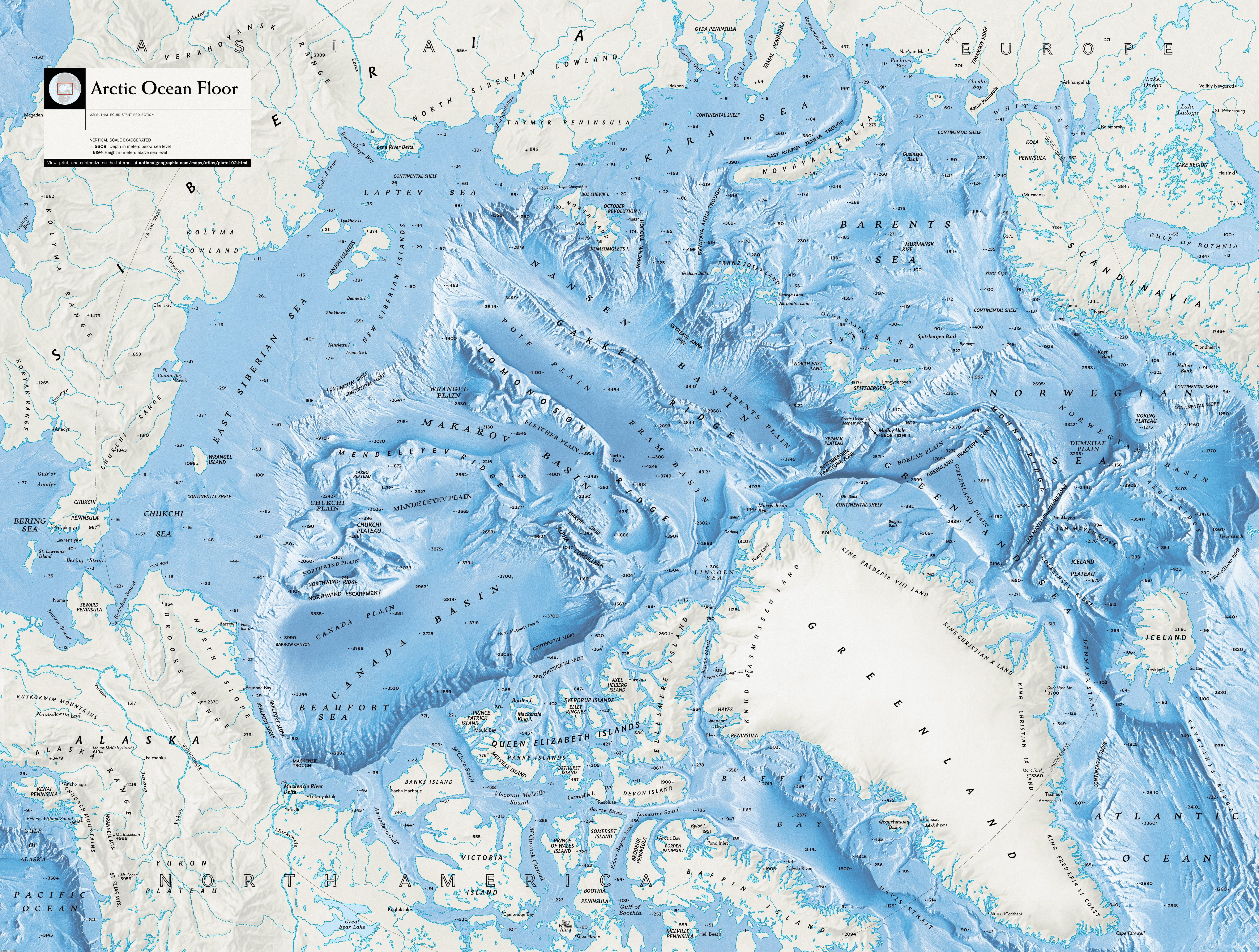 large detailed Arctic Ocean Floor map from the national geographic