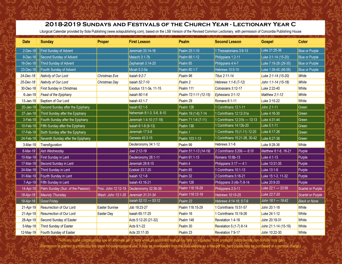 Roman Liturgical Calendar 2019 2019 Liturgical Calendar (Year C) K 2019 | Sola Publishing