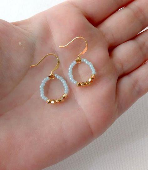 Photo of Mint hoop earrings, swarovski stones,minimalist earing, round small hoop,aqua earrings, bridesmaid gift,bridesmaid earrings,dangling hoop
