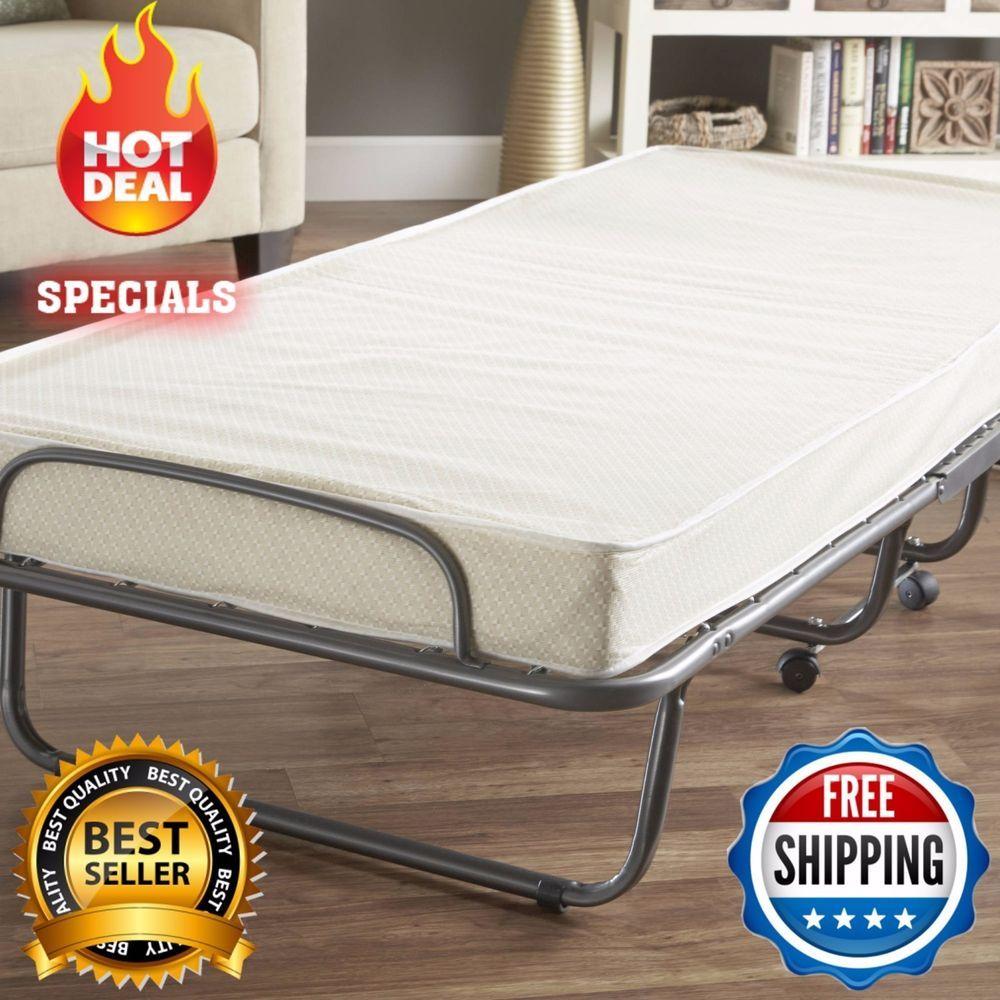 Folding Cot Bed Guest Mattress Sleeping Portable Metal Frame New