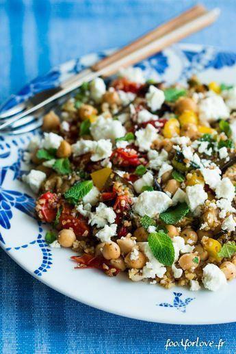 Salade dÉpeautre aux Légumes Grillés, Fêta, Menthe et Pois Chiche