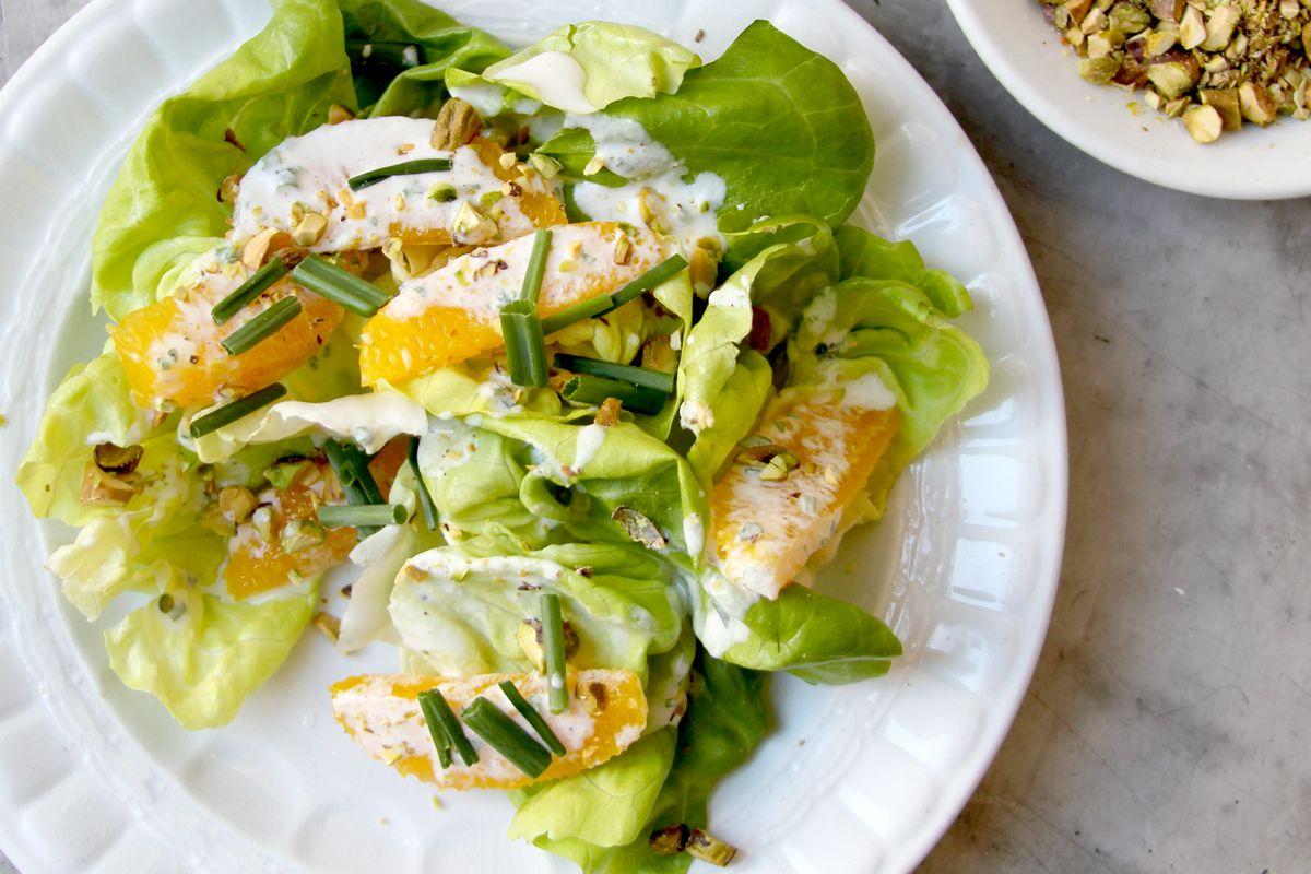 Butter Lettuce Salad with Pistachios and Orange Crème Fraiche Dressing   SAVEUR