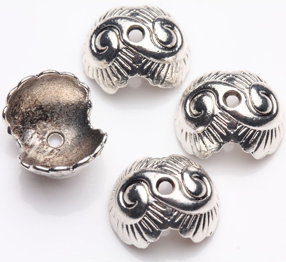 15Pcs Tibet Silver DIY Carving End Bead Caps Necklace Findings 13x11x7mm #New