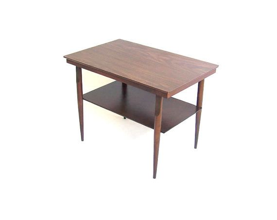 Vintage Coffee Table Side Table Walnut Wood Brown Two Tier Level Tapered Stiletto Legs Mid Century Modern Furniture