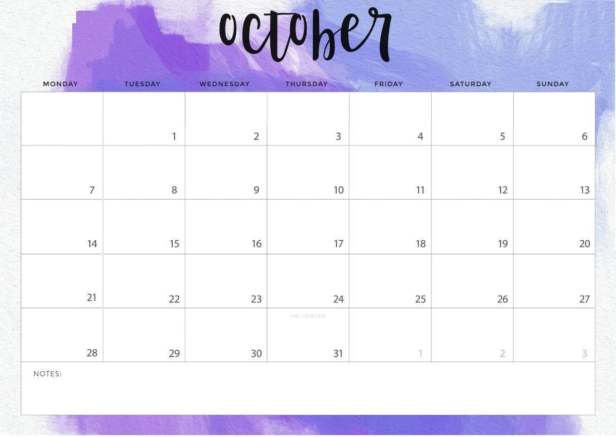 Editable October 2019 Calendar Printable Blank Template With Notes