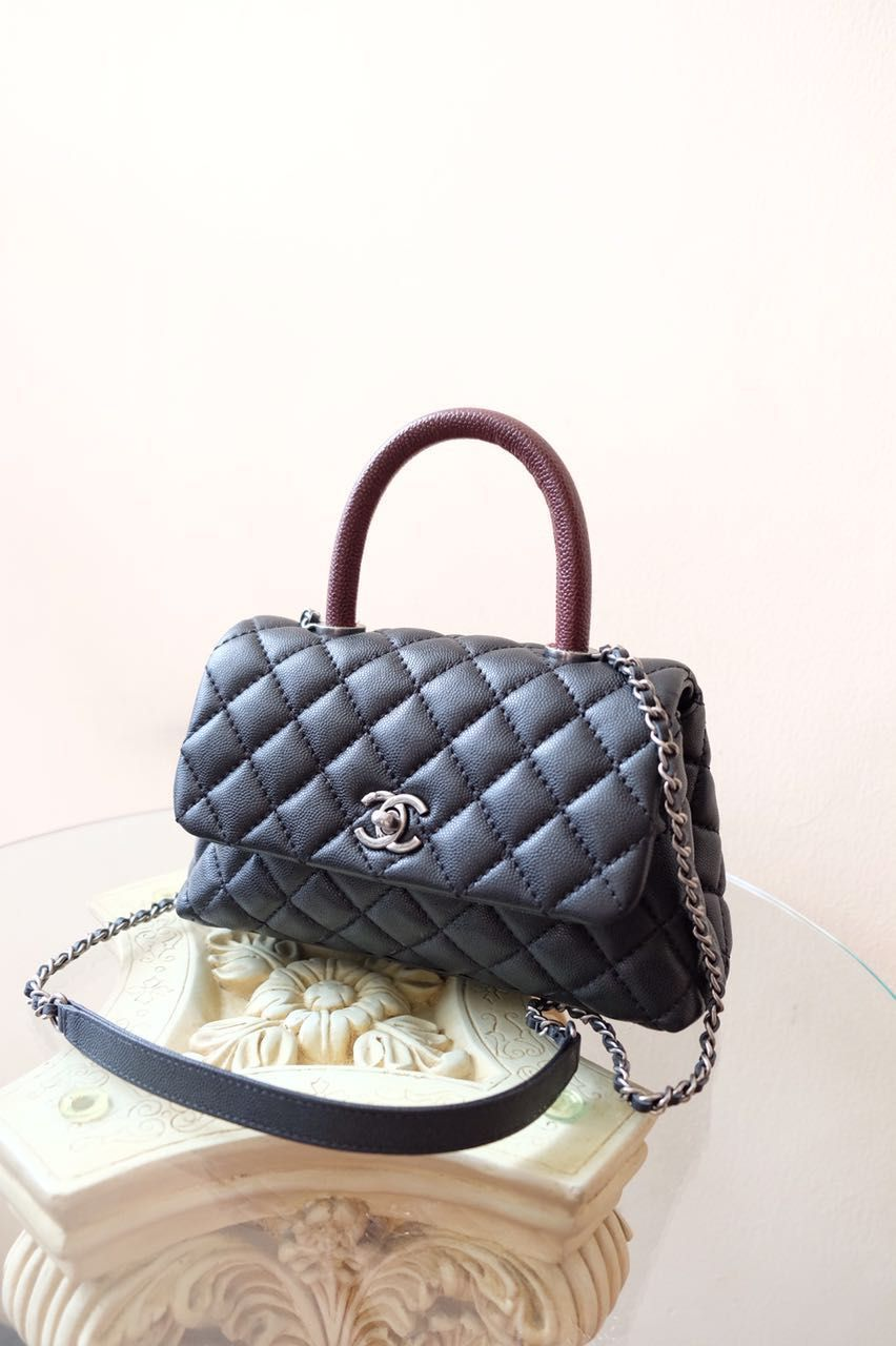 5c9574b41c9830 Kinda Kollection: Chanel Coco Kelly Handle Mini Caviar Silver ...