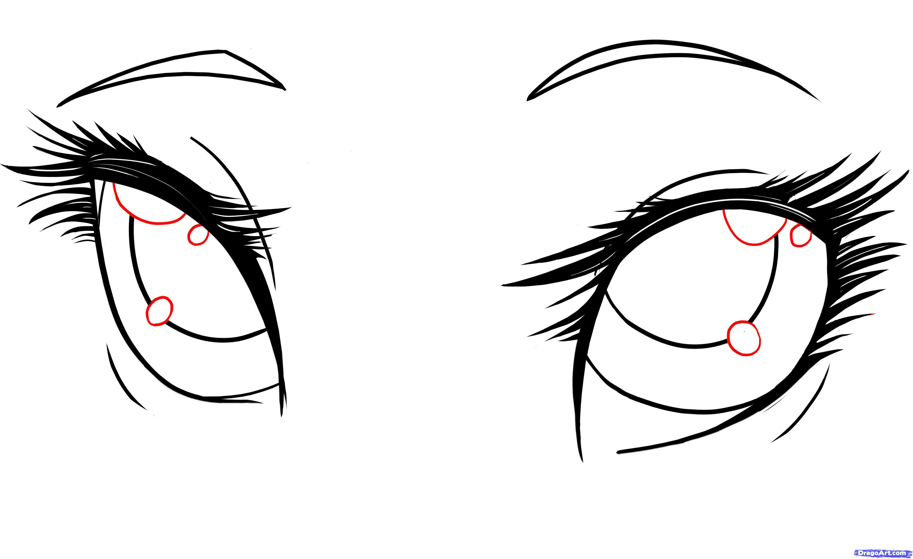 draw anime girl eyes step