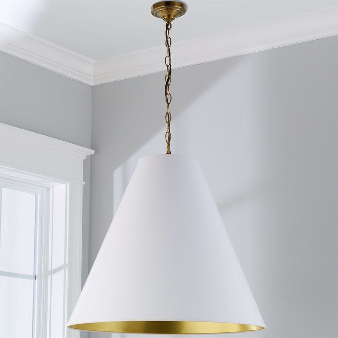 """An oversized cone paper shade in modern trend colors will give your modern space a punch of interest. Hang two over your kitchen island or long Dining table. Choose from satin Dove Gray with Gold or White lining to add today's hottest neutral Gray to your space. Or go glam with Gloss White paper accented with colored Nautical Blue, Gold, Black, or Silver lining. Some Assembly required. 10' chain and 5"""" canopy included. (22""""Hx24""""W). 3 x 60 watt candle base sockets.Choos..."""