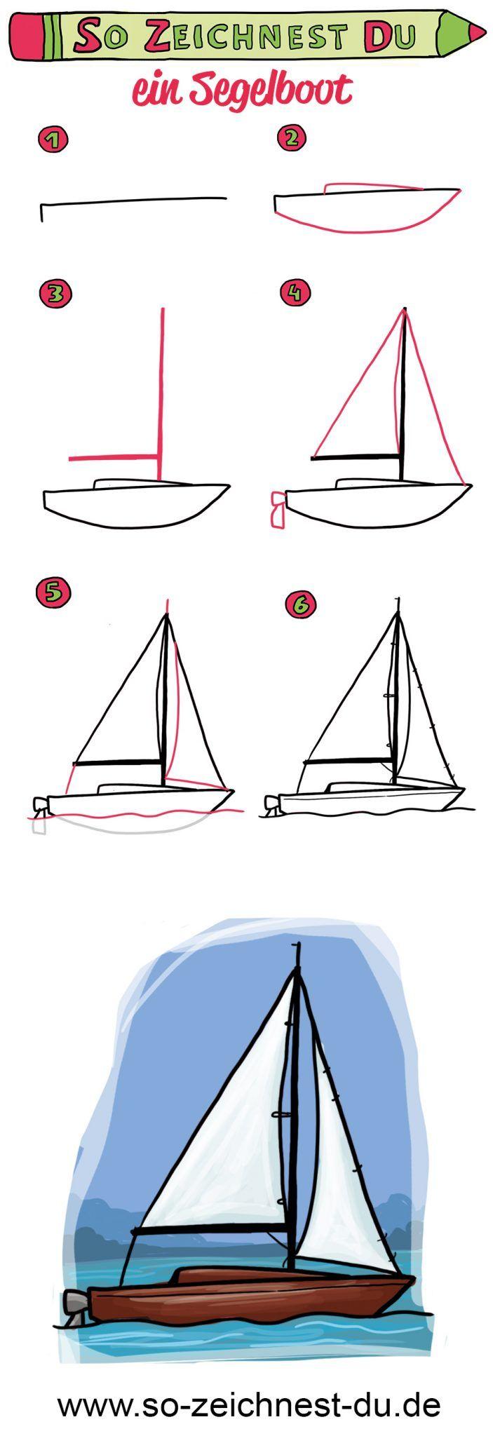So zeichnest du ein Segelboot #steinebemalenvorlagen