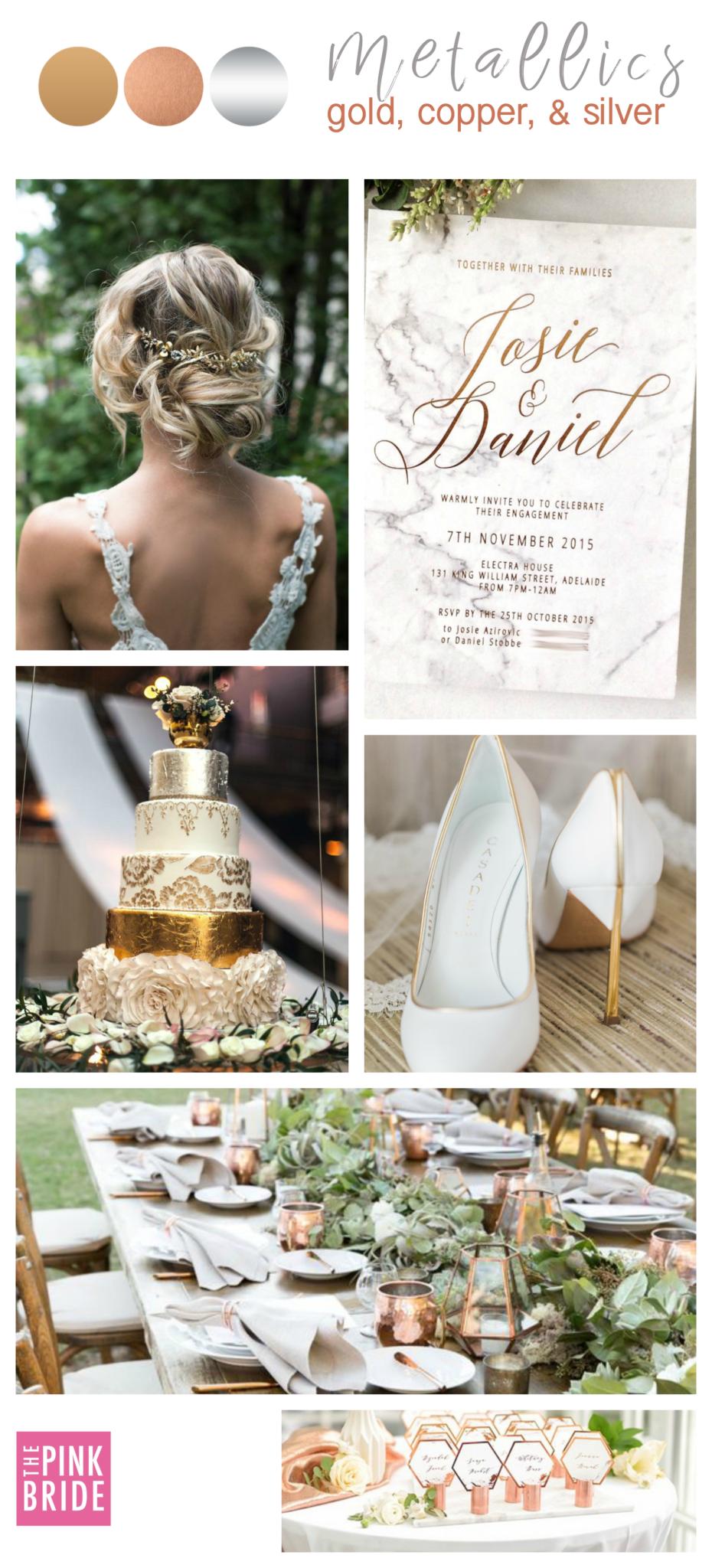 Metallics Color Board The Pink Bride Wedding Color Schemes Gold Gold Wedding Colors Silver Wedding Colours