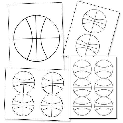 Printable Basketball Shape from PrintableTreats Shapes and - black and white basketball template