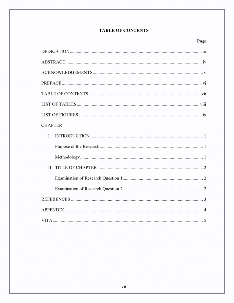 Microsoft Word Table Of Contents Template Blank In Microsoft Word Table Of Contents Template Contents Page Template Table Of Contents Template Word Template