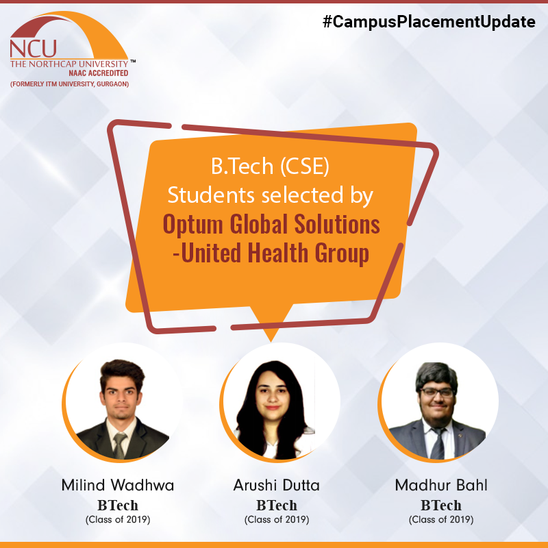 Campus Placement Update of BTech students We are proud
