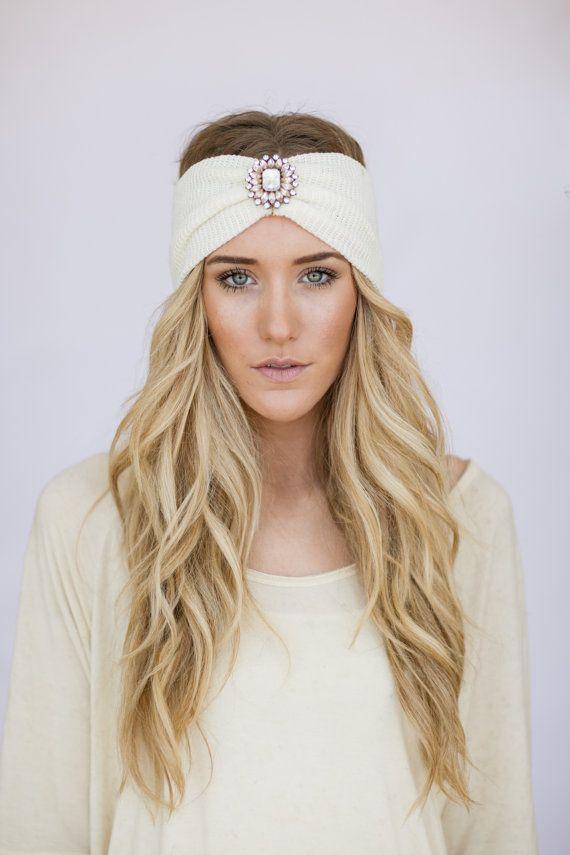boho headband ivory knit wanderlust