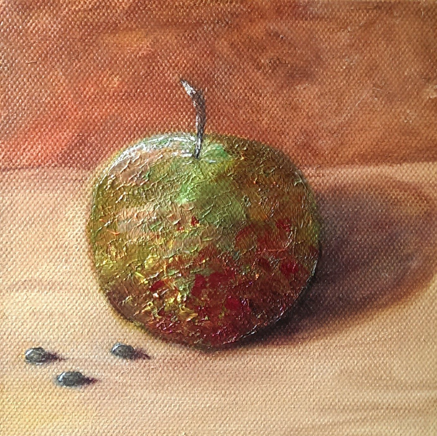 apple, oil on canvas, 7x7 inches