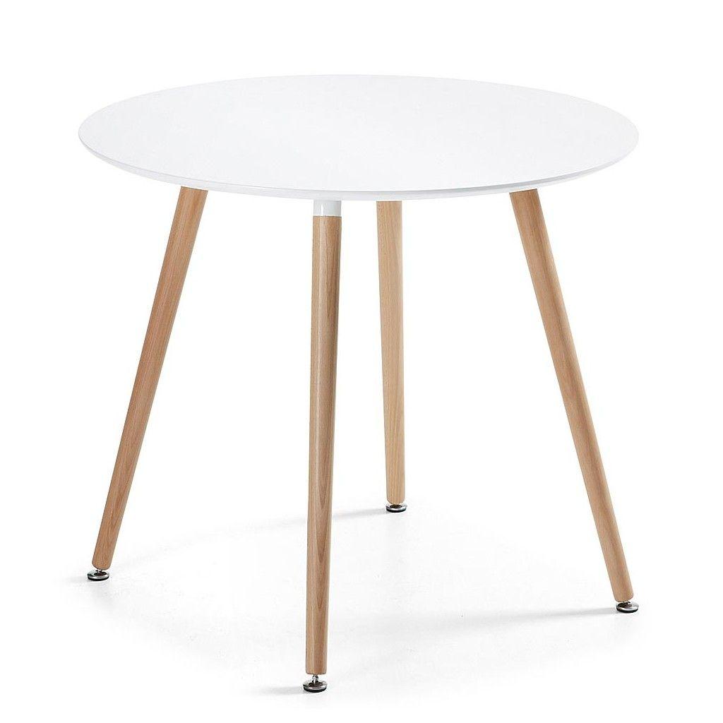 Mesa redonda con patas de madera Wad. Es una mesa perfecta para ...