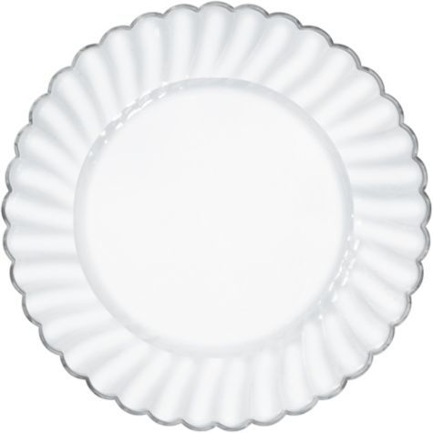 Clear Scalloped Plastic Dinner Plates 10ct   Party City