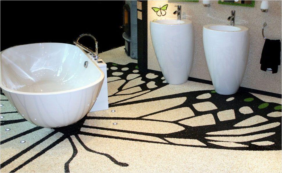 Steinteppich statt badfliesen hier kann man kreativen badideen freien lauf lassen bad - Kreative badideen ...