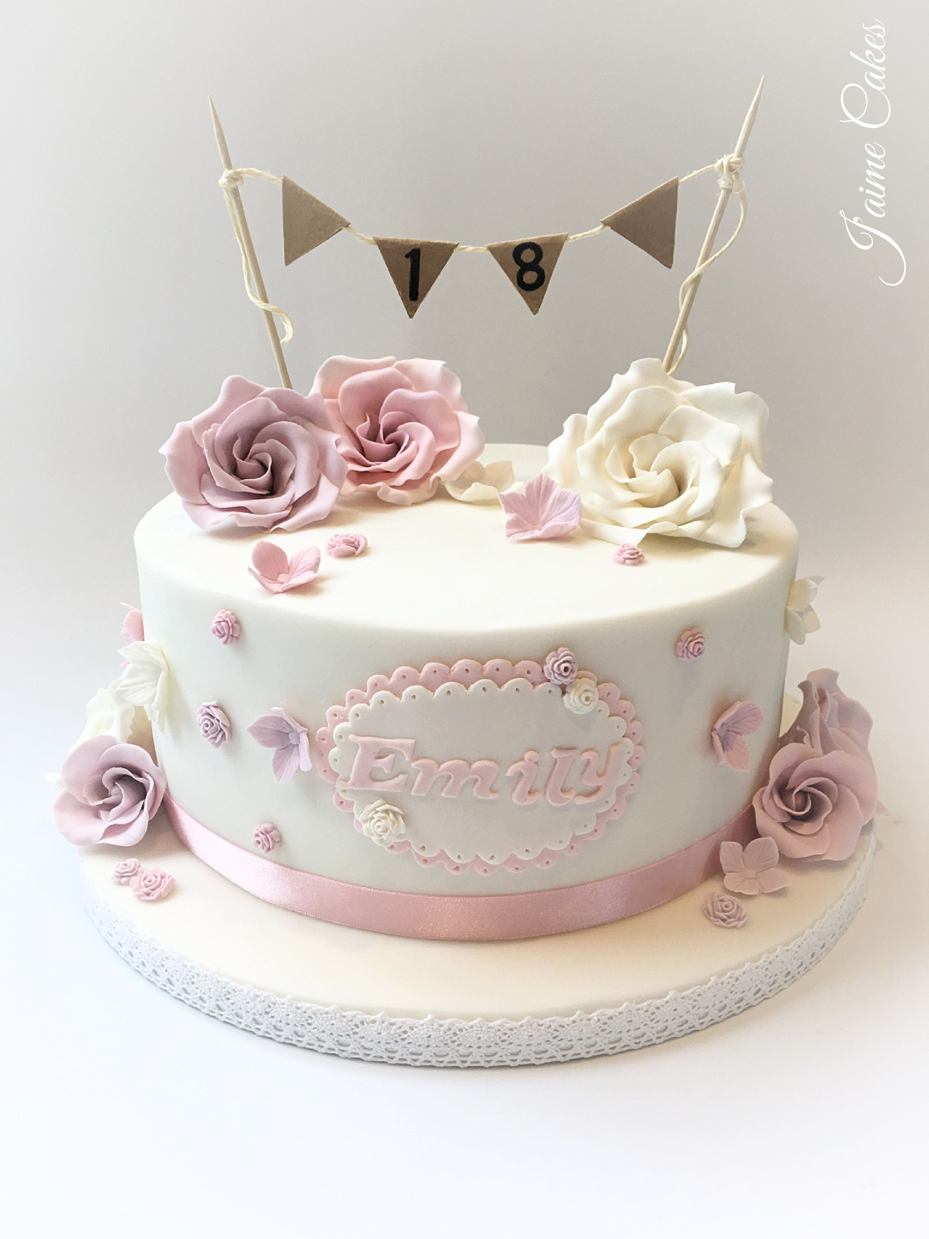 Superb 18Th Birthday Cake Pretty Floral 18Th Birthday Cake Pretty Birthday Cards Printable Opercafe Filternl