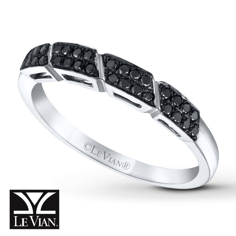 Double rows of luscious Blackberry Diamonds® and diagonal engraving lend visual excitement to this stylish ring from Le Vian®. Crafted of 14K Vanilla Gold®, the ring has a total diamond weight of 1/6 carat. Blackberry Diamonds® are treated to permanently create the intense black color. Le Vian®. Discover the Legend. Diamond Total Carat Weight may range from .145 - .17 carats.