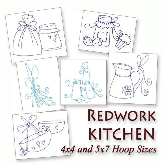 Redwork Embroidery Designs To Download | Kitchen Things Redwork ...