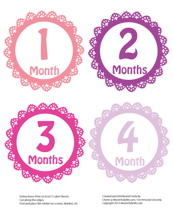 Months in Motion Baby Monthly Stickers Newborn Girl Stickers Baby Girl Stickers Month Stickers for Baby Girl Newborn Monthly Milestone Stickers Baby Milestone Stickers