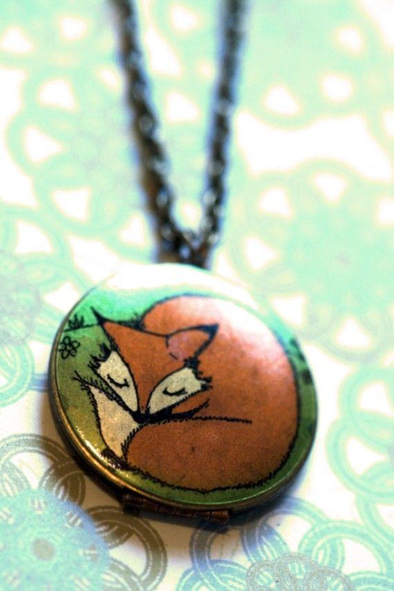 sleepy fox pendant