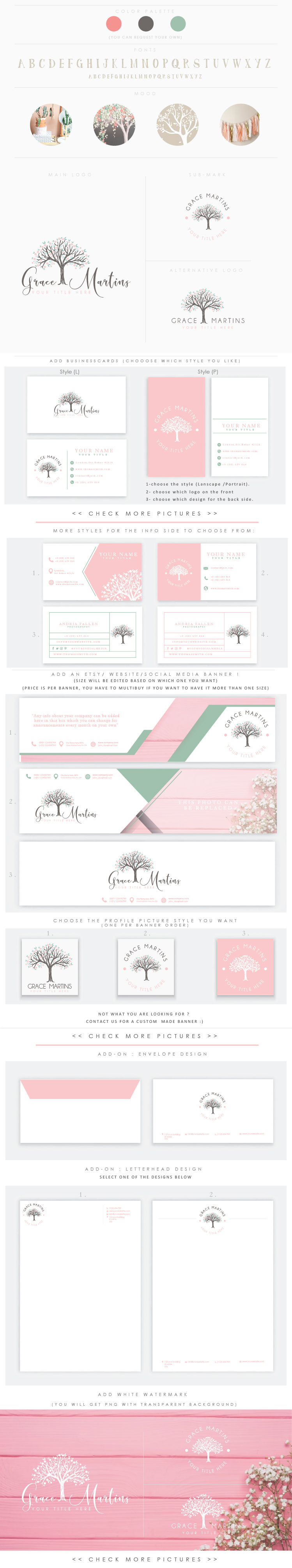 Full bloom tree 2 Feminine logo Watercolor Logo Design