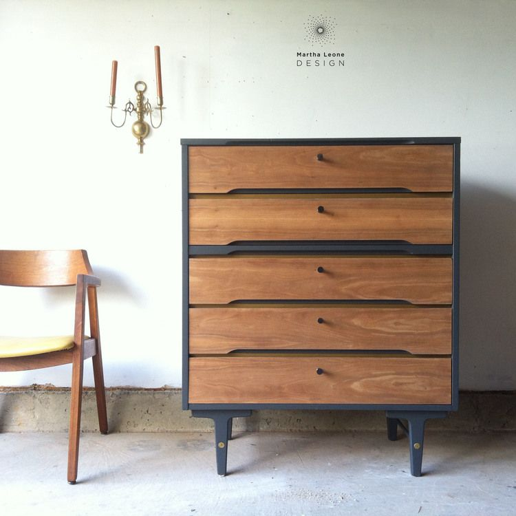 Mid century modern tallboy painted in signature color. Drawers were sanded to raw veneer with no oil or polyurethane applied. Martha Leone Design