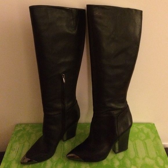 Sam Edelman leather boot.  MD $110 to $90 Soft leather boot with expanded calf. Gunmetal hardware on heel and toe.  Very stylish! Sam Edelman Shoes Heeled Boots