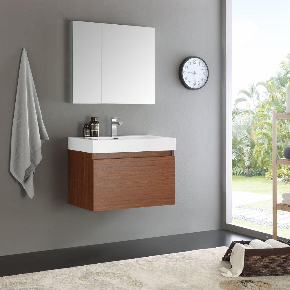 Fresca Mezzo Teak 30 Inch Wall Hung Modern Bathroom Vanity with