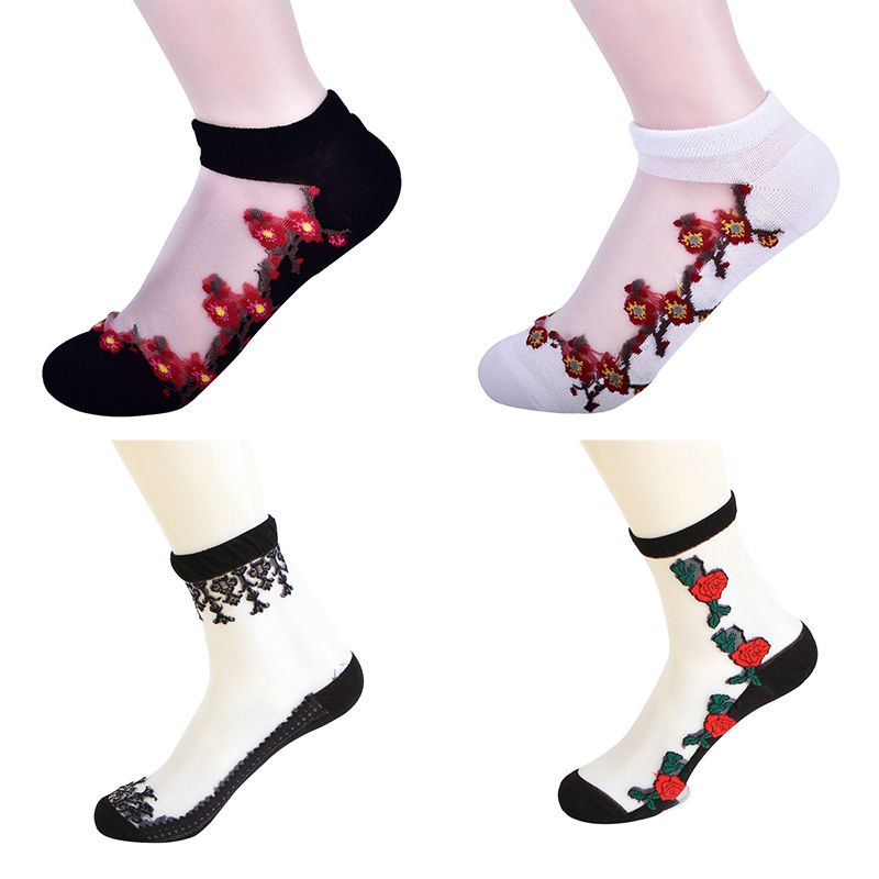 Ladies Women Floral Ultra thin Crystal Lace Sock Elastic Short Socks Rose Print