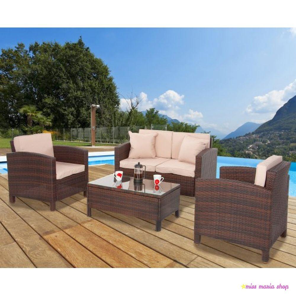 Patio Set 4 Seater Rattan Garden Furniture Brown Sofa Armchairs ...