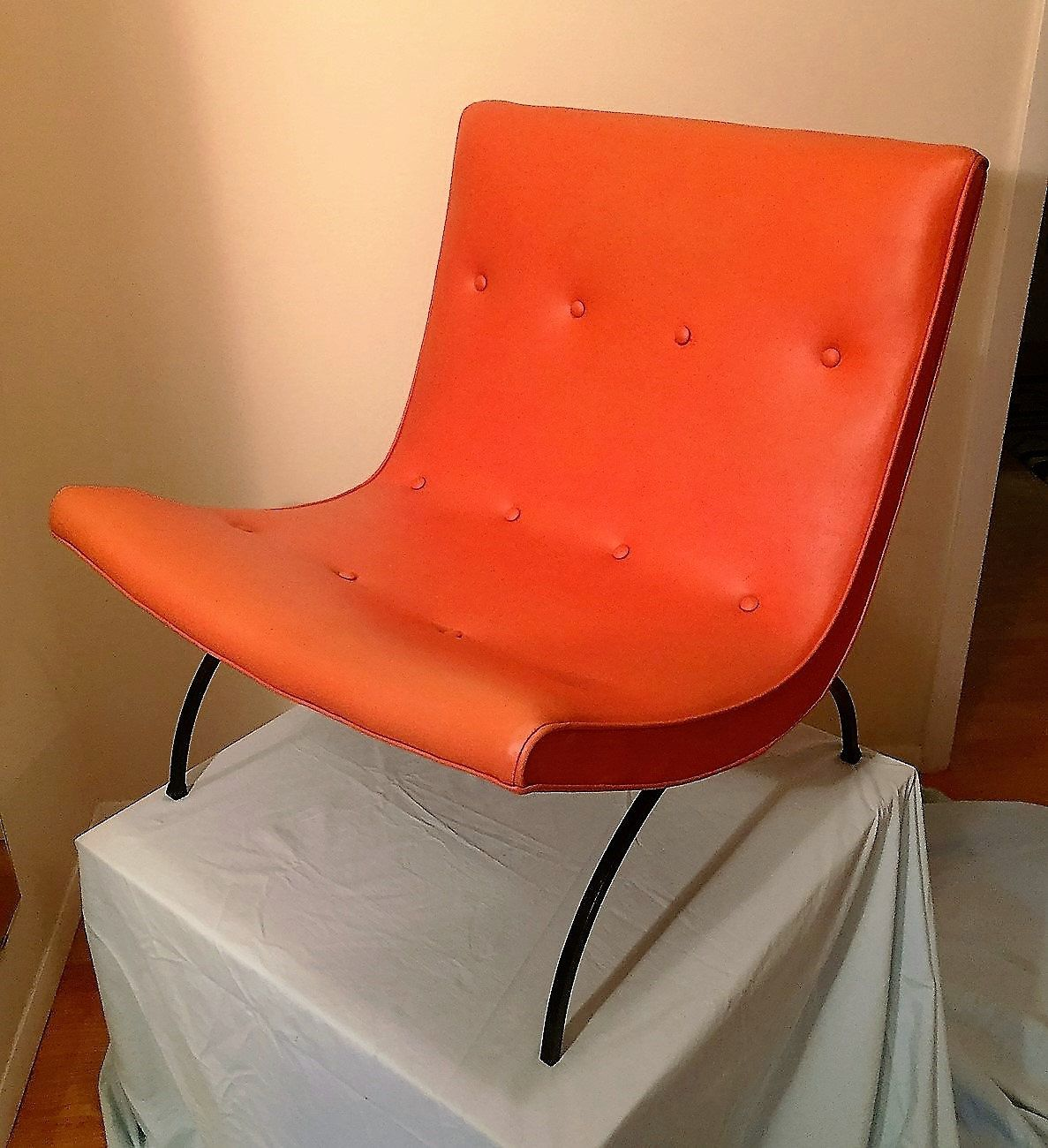 Milo Baughman Scoop Chair / California Modern Orange Chair / Original Tag  By ModernaireMCMStudios On Etsy