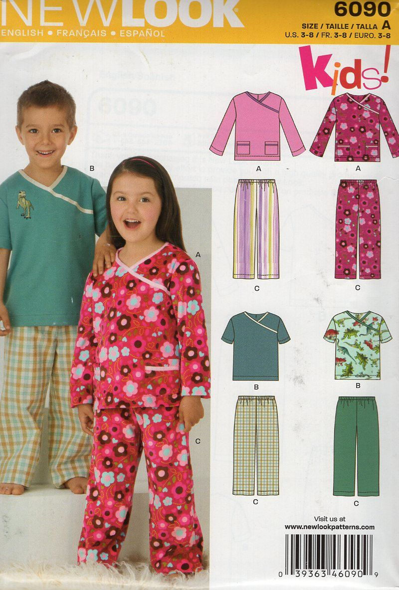 New look 6090 kids sewing pattern free us ship girls kimono pjs new look 6090 kids sewing pattern free us ship girls kimono pjs pajamas scrubs top pants jeuxipadfo Images