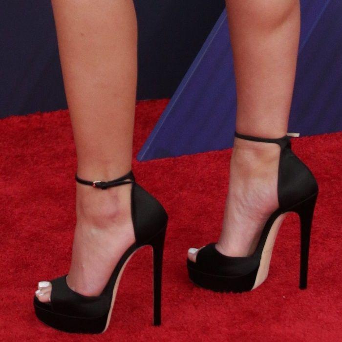 305cb899e2d Halsey s feet in black platform  Max  sandals by Jimmy Choo