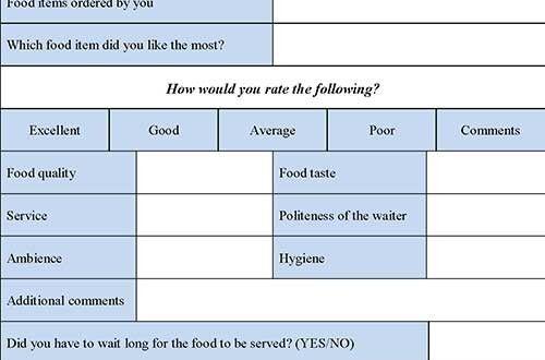 Restaurant Evaluation Form  Editable Forms  Human