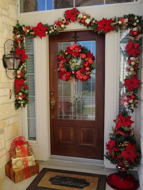Our Home Away From Home Front Door Christmas Decor Front Door Christmas Decorations Red Christmas Decor Christmas Garland