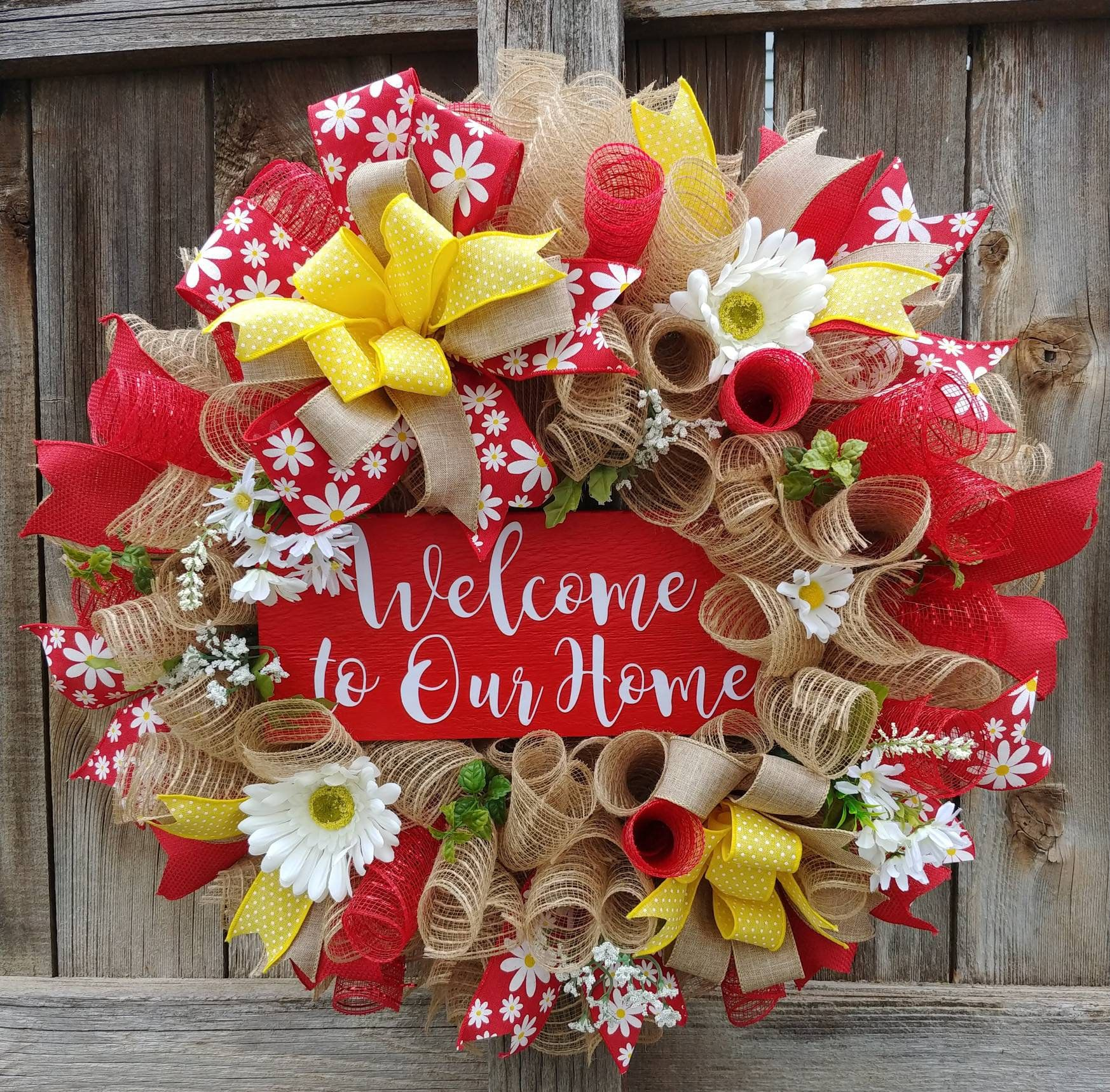 Photo of Welcome to our home wreath. Spring wreath, summer welcome wreath, red welcome wreath, daisy wreath, burlap wreath summer wreath