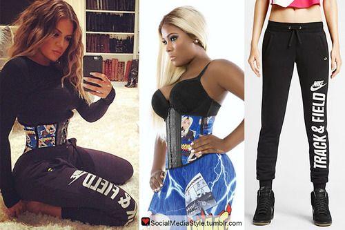 aa18affd05 Buy Khloe Kardashian s Waist Gang Society Premadonna Superhero Waistshaper  and Nike Track and Field Sweatpants