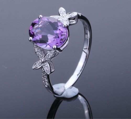 Solid-14k-White-Gold-Natural-Diamonds-Ring-Amethyst-Unique-Butterfly-Jewelry